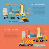Modern Building. Process of Pouring Concrete. Stock Photos