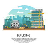 Modern Building. Process of Pouring Concrete. Vector banner construction and concreting. Royalty Free Stock Photography