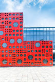 Modern building with red wall Stock Photo