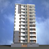 Modern building render. 3d architectural building illustration background Royalty Free Stock Photos
