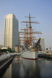 Modern building and sailboat. Japan. Yokohama Royalty Free Stock Photo