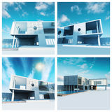 Modern building set. High quality 3d render Stock Photography