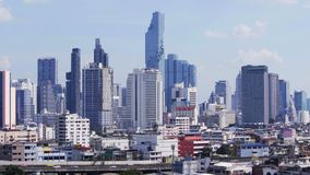 Modern building with sky in Bangkok, Thailand stock footage