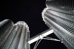 Modern building skyscrapers  at night Royalty Free Stock Images
