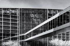 Modern building from steel and glass, wall infrared view Royalty Free Stock Images