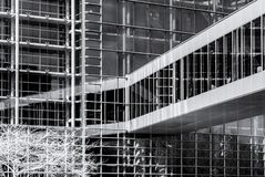 Modern building from steel and glass, wall infrared view Stock Photo