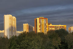 Modern building in Strogino region on bank of Moskva-river Stock Images