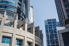 Modern building structures. Closed view of several modern building structures Stock Photo