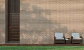 Modern building terrace decorate wall with brick pattern 3d rendering image. Modern Building Terrace in the garden Decorate Wall With Brick 3D Rendering Image Stock Photography