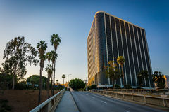 Modern building and 4th Street, in downtown Los Angeles  Royalty Free Stock Photo