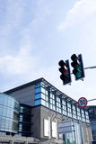 Modern building and Traffic signal stock photography