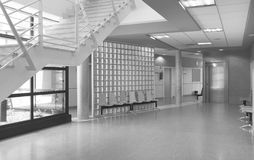 Modern building waiting area in black and white Stock Photography