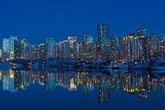 Vancouver city skyline at night in British Columbia, Canada. Royalty Free Stock Photos