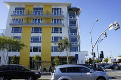 Modern Building. This building with a yellow stripe were built just recently along sta. Monica Blvd., LA, CA Stock Photography