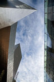 Modern Buildings. A view of the sky between two modern buildings Royalty Free Stock Photos