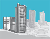 Modern buildings. Vector abstract drawing of three modern city buildings royalty free illustration