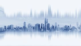 Modern buildings, abstract city network connection, on white background vector illustration