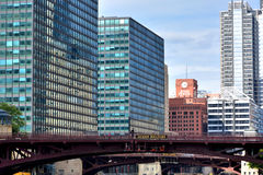 Modern buildings along the Chicago River. City and buildings by Chicago river,  Chicago, Illinois, United States Royalty Free Stock Photography