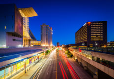 Modern buildings along Columbus Boulevard at night, in Hartford, Royalty Free Stock Image