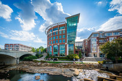 Modern buildings along the Reedy River, in downtown Greenville, Royalty Free Stock Photography