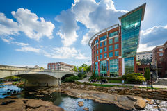 Modern buildings along the Reedy River, in downtown Greenville, Royalty Free Stock Image