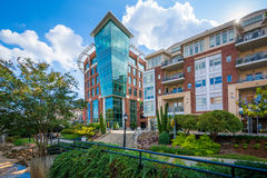 Modern buildings along the Reedy River, in downtown Greenville, Stock Photography