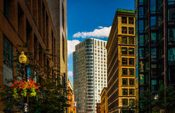 Modern buildings along a street in Boston, Massachusetts. Stock Photography
