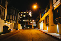 Modern buildings along a street at night, in Santa Monica  Stock Photography