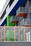 Modern buildings and balconies. The colorful, modern building and balconies Stock Photos