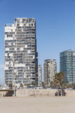 Modern buildings of Barcelona. Modern building on the beach close to the Port Olímpic in Barcelona royalty free stock photos
