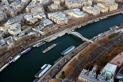 Aerial view of River Seine and Bateaux Mouches in Paris. Royalty Free Stock Images