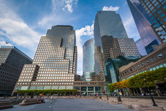 Modern buildings in Battery Park City, Manhattan, New York. Stock Photos
