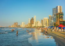 Modern Buildings and Beach in Cartagena Royalty Free Stock Image