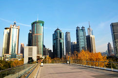Modern buildings with blue sky background. In financial center of shanghai Stock Image