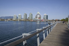 Modern buildings and boardwalk in Vancouver Royalty Free Stock Images