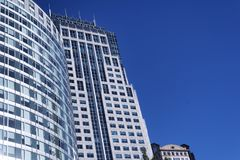 Modern Buildings Boston Massachusetts. Modern skyscrapers against a cloudless blue sky in the city of Boston Massachusetts royalty free stock photo