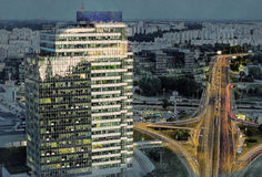 Modern buildings in Bratislava city. In Slovak republic. Architectural theme. Travel destination. Beautiful place. Real estate theme. Modern painting style Stock Images