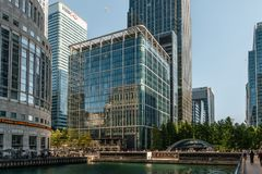 Modern buildings in Canary Wharf royalty free stock photos