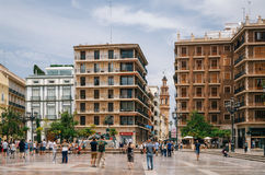 Modern buildings on Cathedral Square in Valencia. Valencia, Spain - June 3, 2016: Modern buildings on Plaza de la Virgen Cathedral Square in a central location Stock Photography