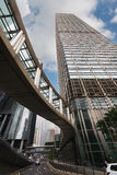 Modern foot bridge and buildings in Hong Kоng Royalty Free Stock Photos