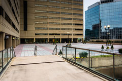 Modern buildings and the Charles Center Skywalk in downtown Balt Royalty Free Stock Image