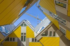 Modern Buildings City Architecture Design Elements Known as Cubic Houses Designed by Piet Blom. Rotterdam, The Netherlands -May 11, 2017: Modern Buildings City Royalty Free Stock Images
