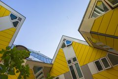 Modern Buildings City Architecture Design Elements Known as Cubic Houses Designed by Piet Blom. Rotterdam, The Netherlands -May 11, 2017: Modern Buildings City Royalty Free Stock Photography