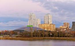 Modern buildings in the city center on the embankment.Chelyabinsk. Stock Image