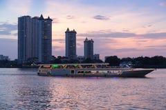 Modern buildings condominium at Chao Phraya River Bangkok Thailand at sunrise royalty free stock images