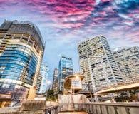 Modern buildings of Darling Harbour, Sydney. City night skyline.  Royalty Free Stock Photo