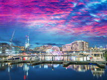 Modern buildings of Darling Harbour, Sydney. City night skyline Royalty Free Stock Photo
