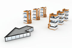 Modern Buildings, Direction. Several small modern buildings following an arrow-shaped one, 3d, isolated Stock Photos