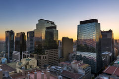 Modern buildings in the downtown of the city of Santiago de Chile at sunset, in Chile. South America Royalty Free Stock Photos