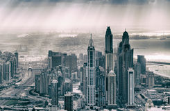 Modern buildings of Downtown Dubai with Sheikh Zayed road agains Royalty Free Stock Images